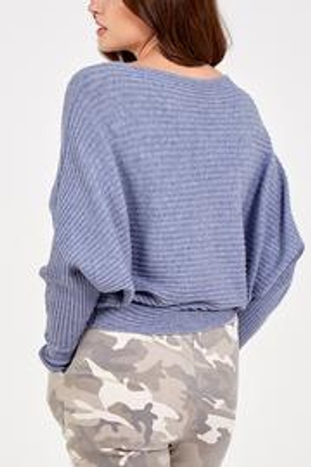 denim blue batwing rib jumper