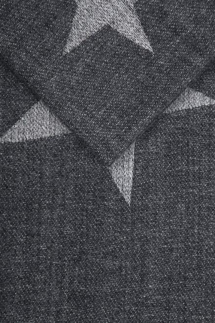 Dark Grey Large Star Print Border Blanket Scarf