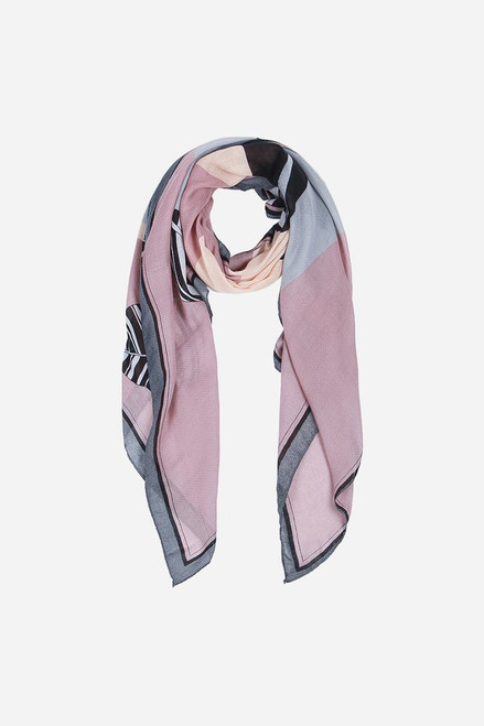 Grey Pink Houndstooth Colour Block Stripe Scarf