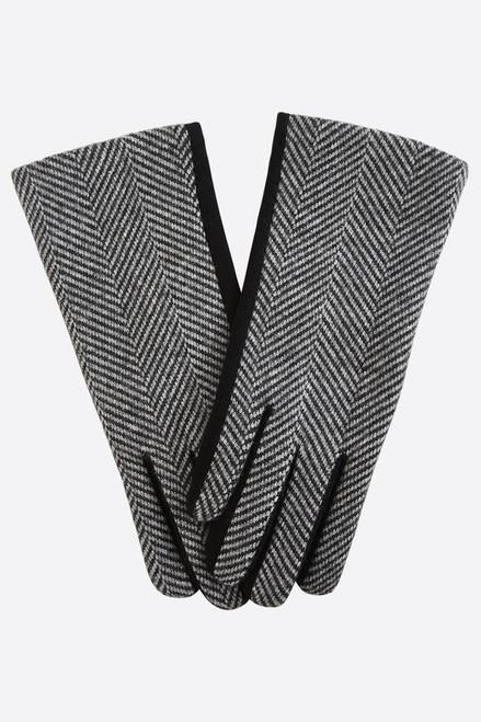 Black Two-Tone Herringbone Gloves