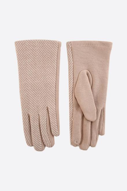 Camel Two-Tone Herringbone Gloves.
