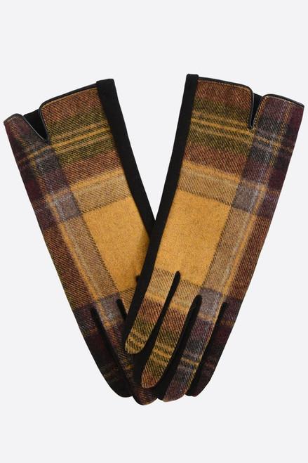 Mustard Brown Two Tone Tartan Gloves