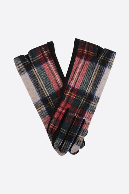 Cream Red Two Tone Tartan Gloves