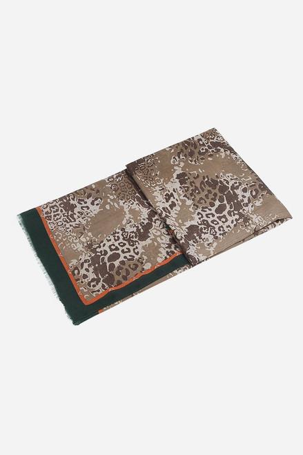 Khaki Orange Two Tone Border Leopard Print Scarf
