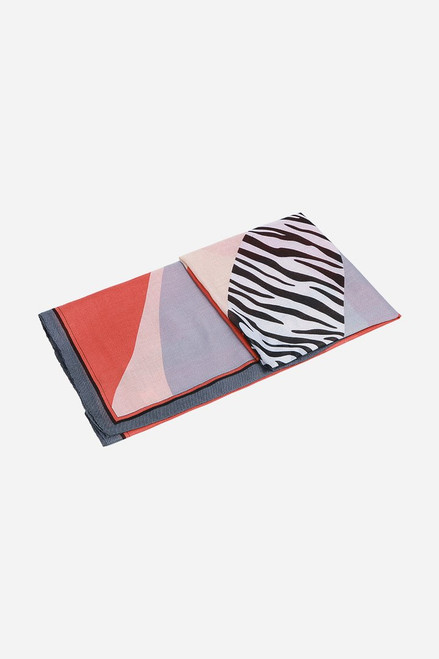 Grey Coral Houndstooth Colour Block Stripe Scarf