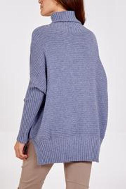 Denim blue rib roll neck jumper