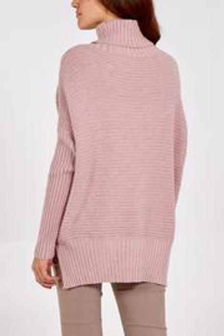 Dusky pink rib roll neck jumper