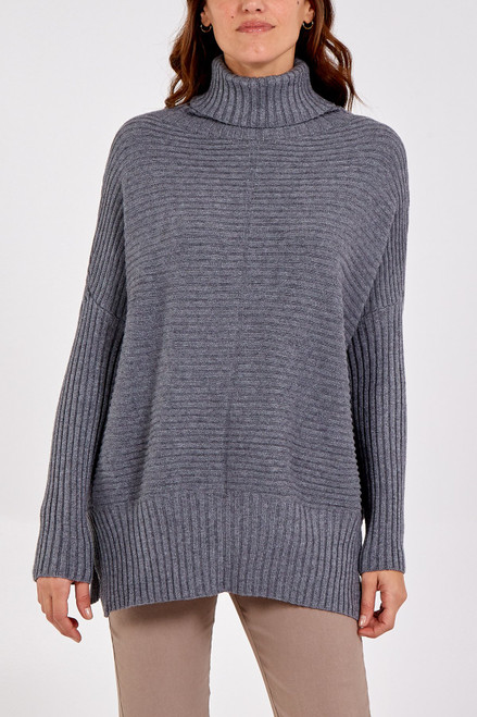 Grey rib roll neck jumper