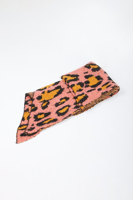 Pink Asymmetric Contrast Leopard Blanket Scarf