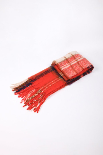 Red Navy Traditional Check Tasselled Blanket Scarf.