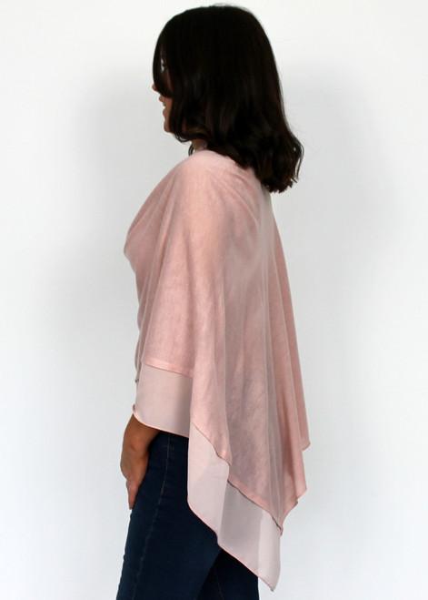 Dusty pink chiffon trim poncho