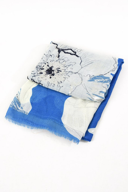Blue silver floral scarf