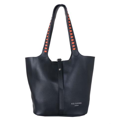 Black weave strap shoulder bag