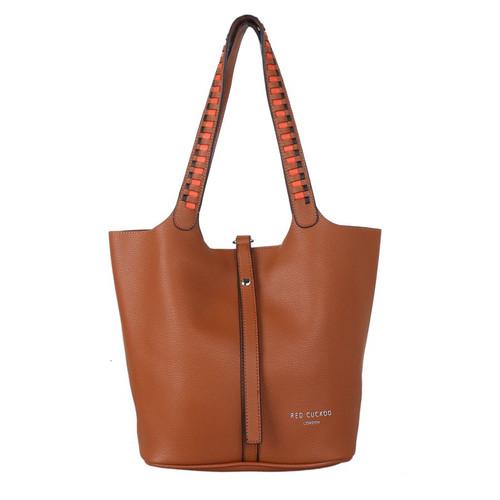Tan weave strap shoulder bag