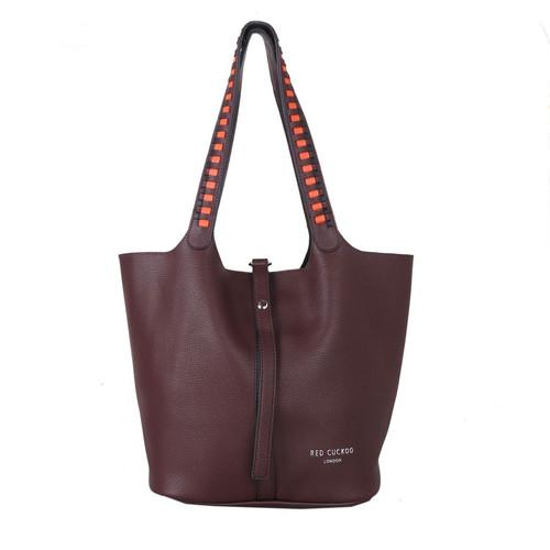 Wine weave strap shoulder bag