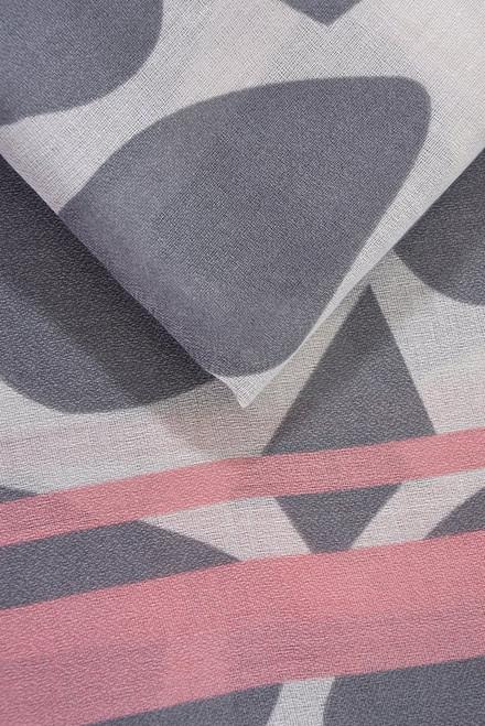 Grey pink trim print scarf