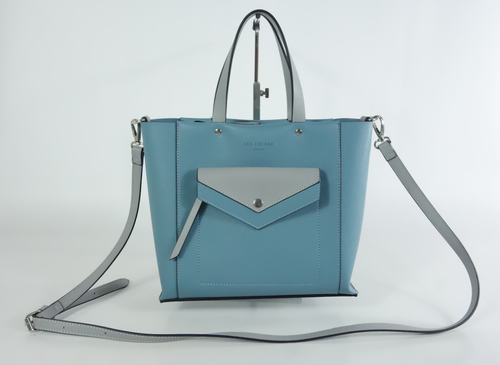 Blue Tote with Pocket Detail