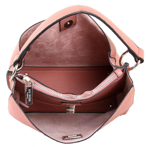 Dusky pink bag with clasp fastener