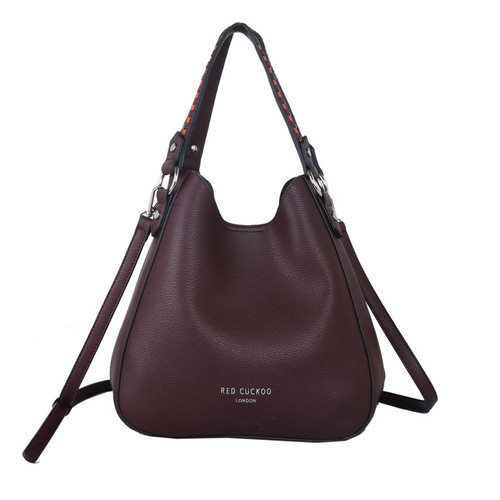 Dark red weave strap shoulder bag