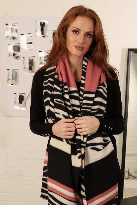 Pink black zebra print scarf