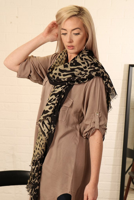 Black cream animal print scarf