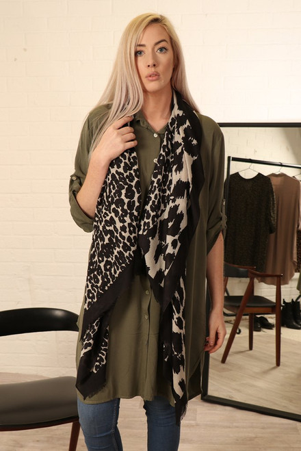 Black White animal print scarf