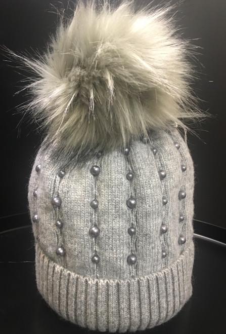 Light grey faux fur Pom Pom hat