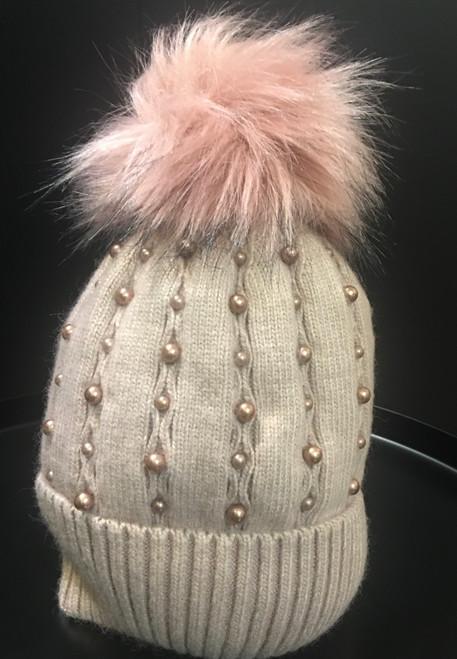Dusky pink faux fur Pom Pom hat