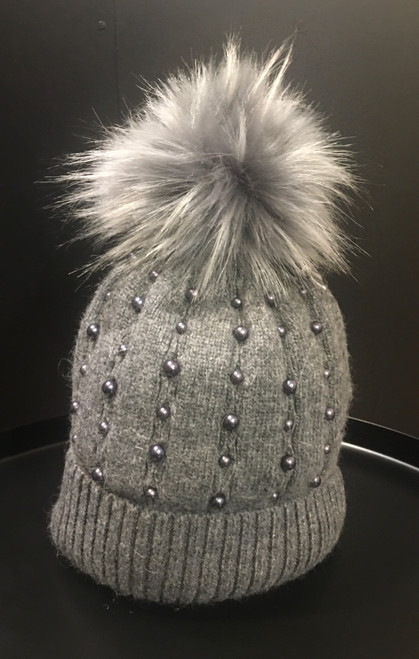 Mid grey faux fur Pom Pom hat