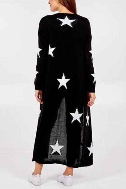 Long black white star cardigan