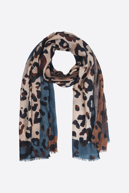Grey, teal leopard print scarf
