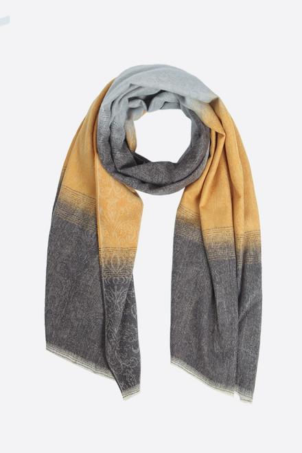 grey mustard ombre scarf