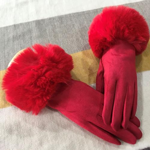 Red fur trim gloves