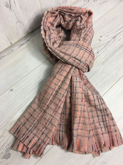 Pale pink blanket scarf with metallic thread