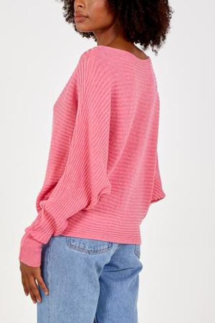 Pink rib batwing jumper