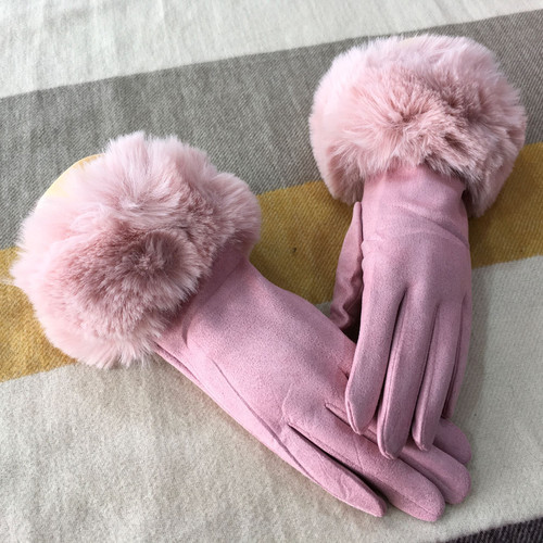 Pink faux fur trim gloves