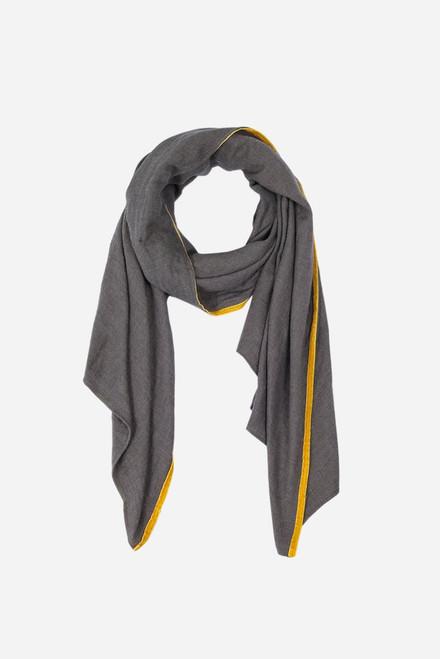 Grey mustard trim scarf