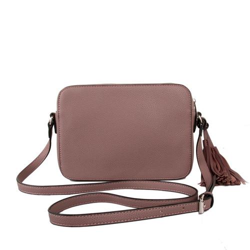dusky purple cross body tassel bag