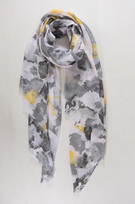 Grey mustard watercolour scarf