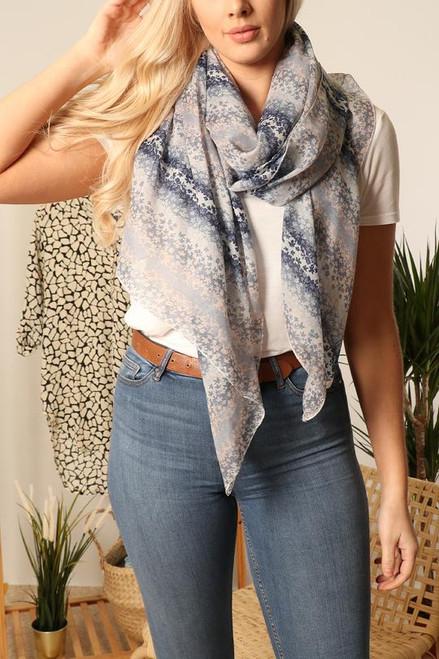 Blue floral stripe scarf