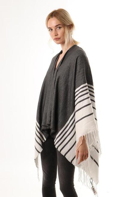Dark grey white tasselled stripe cape.