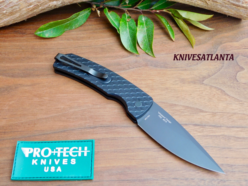 "Protech Magic 2 ""Whiskers"" Automatic Knife Feather Texture (3.75"" Black) M2607"