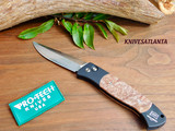 Protech Brend #1 Large Automatic Knife Black Handle Maple Burl Inlay Satin Finish Silver Blade