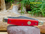 "Boker 3 Blade Stockman 4"" Closed, Red Bone Handles 117474SS"