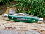 "Remington 2020 Stockman Bullet Pocket Knife 3.8"" Closed, Green Dymalux Wood Handles with Nickel Silver Bolsters - 100145"