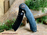 Red Horse Knives    Hell Razor P Series Black Marbled Carbon Fiber Handle W/ PVD Black Blade