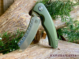 Red Horse Knives   Hell Razor P Series OD Green Handle W/ Stonewash Blade