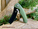 Red Horse Knives   Hell Razor P Series OD Green Handle W/ PVD Black Blade