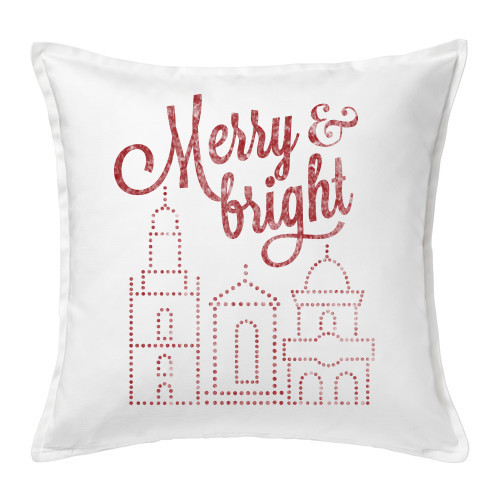 PILLOW COVER   MERRY & BRIGHT (WHITE)