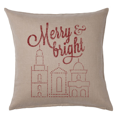 PILLOW COVER | MERRY & BRIGHT (TAN)